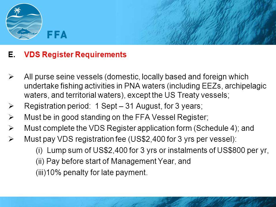 VDS Register Requirements