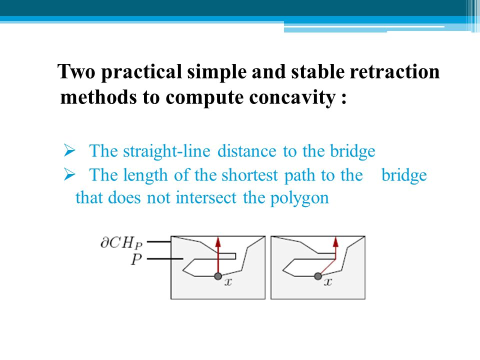 Two practical simple and stable retraction methods to compute concavity :
