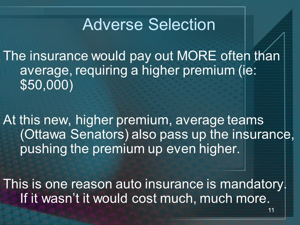 Adverse Selection The insurance would pay out MORE often than average, requiring a higher premium (ie: $50,000)