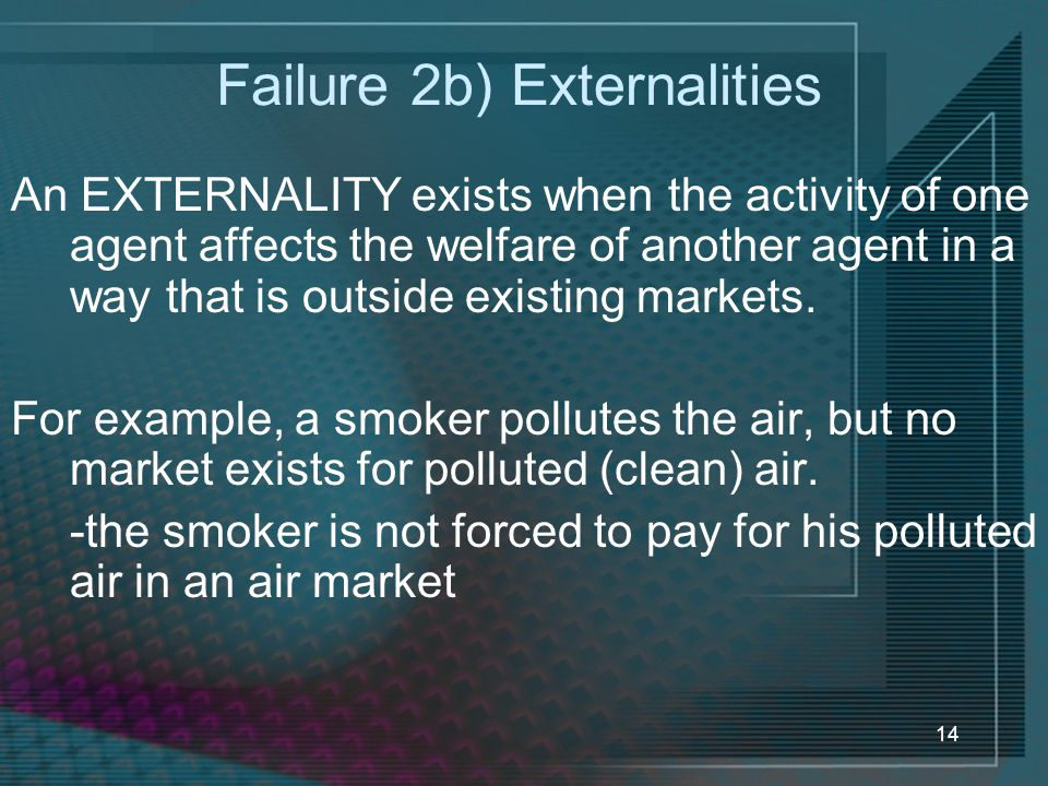 Failure 2b) Externalities
