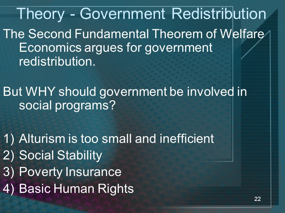 Theory - Government Redistribution