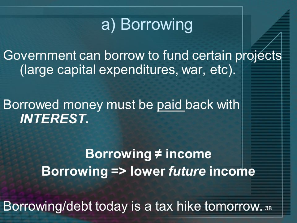 Borrowing => lower future income
