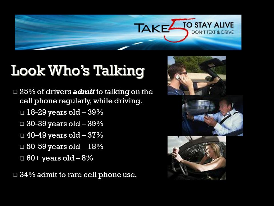 Look Who's Talking 25% of drivers admit to talking on the cell phone regularly, while driving. 18-29 years old – 39%