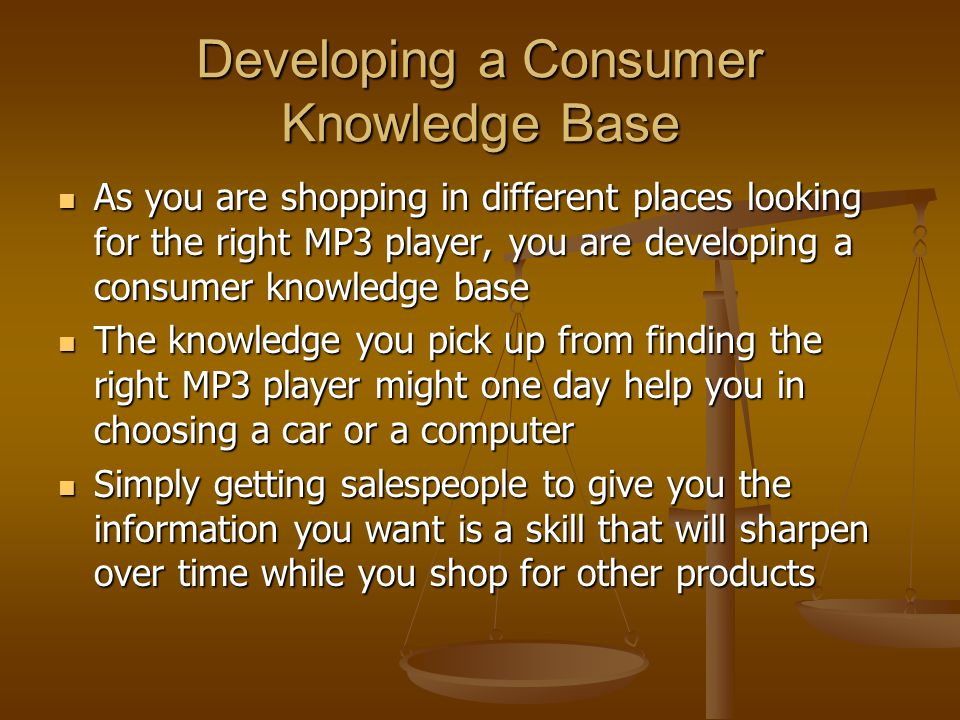 Developing a Consumer Knowledge Base
