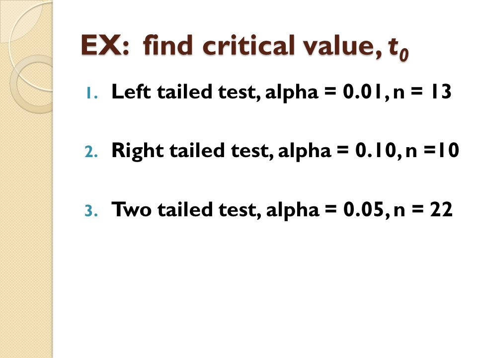 EX: find critical value, t0