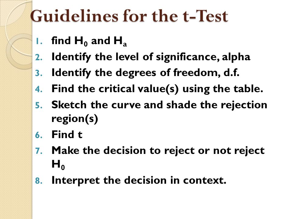 Guidelines for the t-Test
