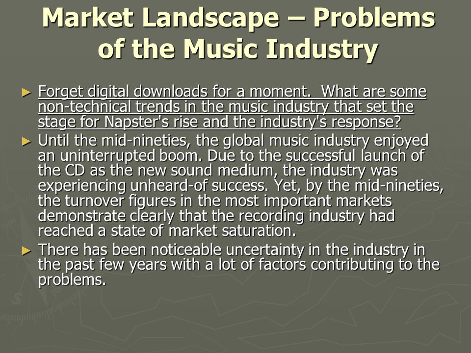 Market Landscape – Problems of the Music Industry
