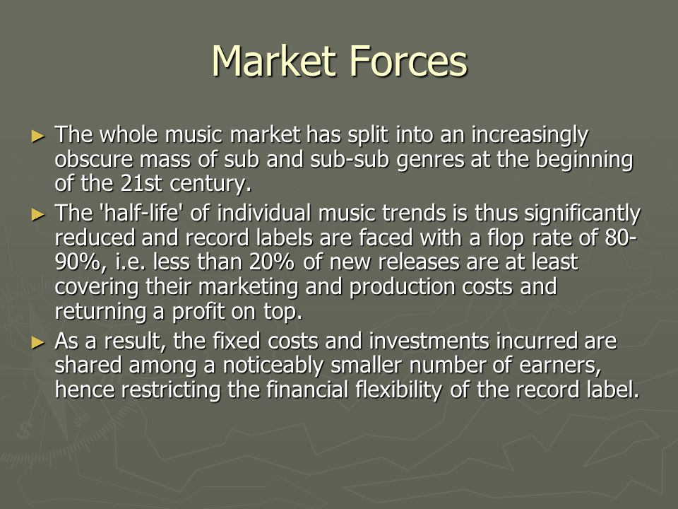 Market Forces The whole music market has split into an increasingly obscure mass of sub and sub-sub genres at the beginning of the 21st century.