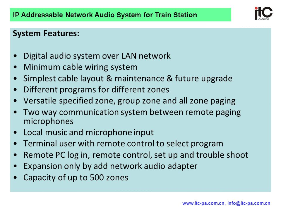 Digital audio system over LAN network Minimum cable wiring system