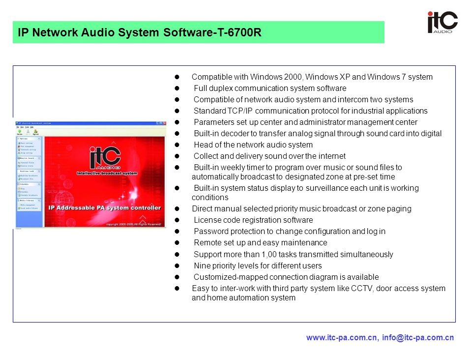 IP Network Audio System Software-T-6700R