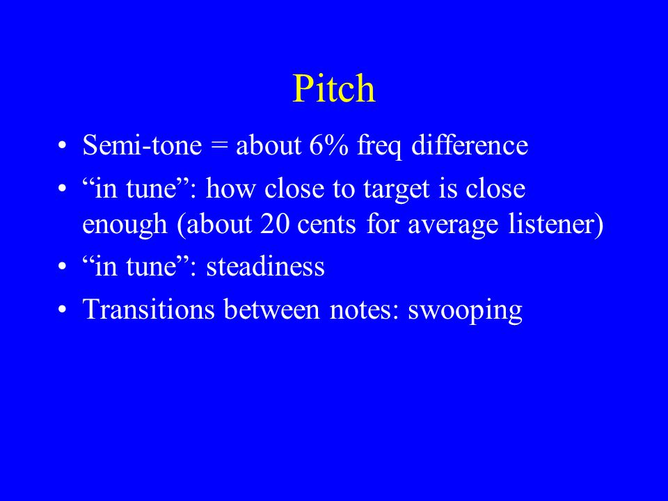 Pitch Semi-tone = about 6% freq difference