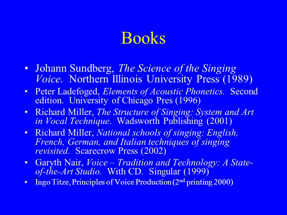 Books Johann Sundberg, The Science of the Singing Voice. Northern Illinois University Press (1989)