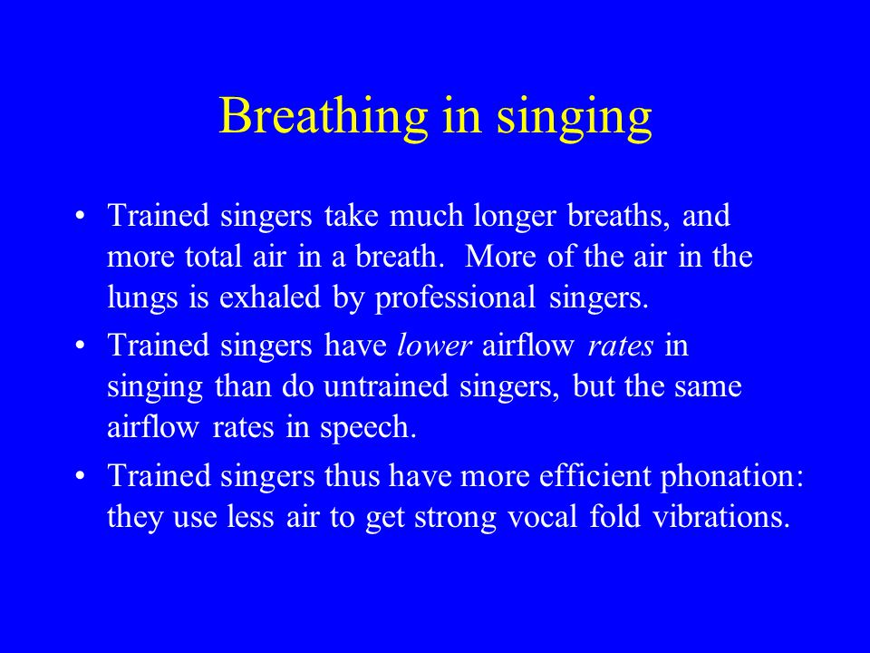 Breathing in singing