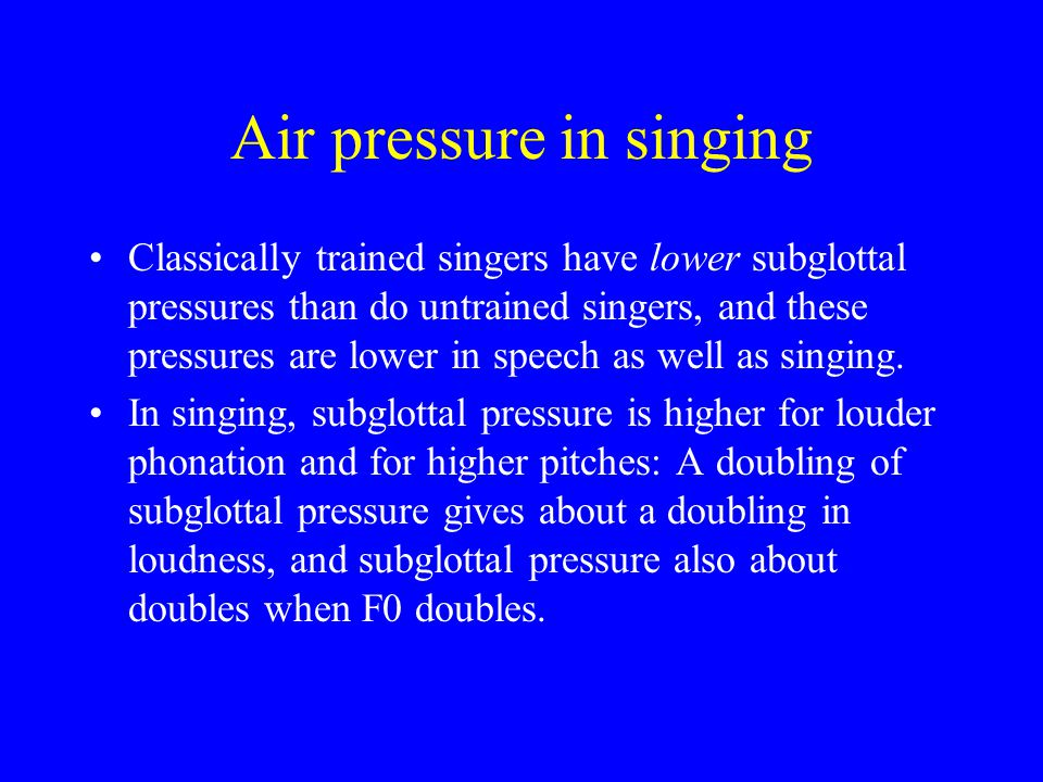 Air pressure in singing