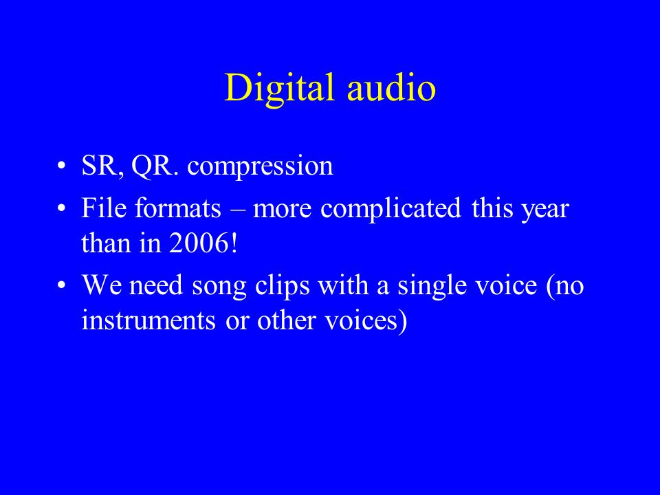Digital audio SR, QR. compression