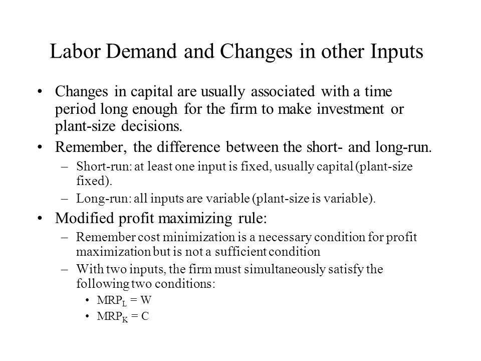 Labor Demand and Changes in other Inputs