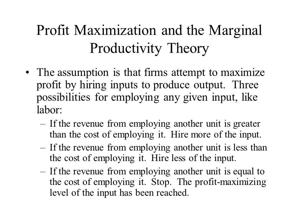 Profit Maximization and the Marginal Productivity Theory
