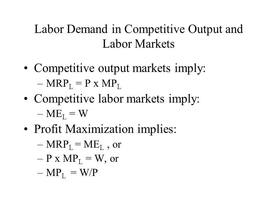 Labor Demand in Competitive Output and Labor Markets
