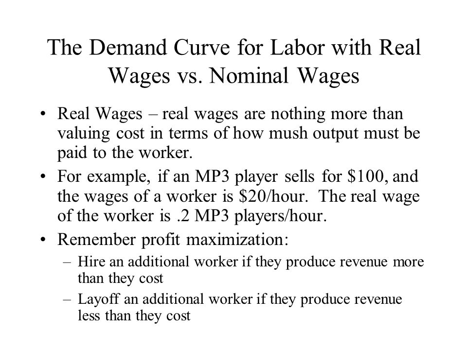 The Demand Curve for Labor with Real Wages vs. Nominal Wages