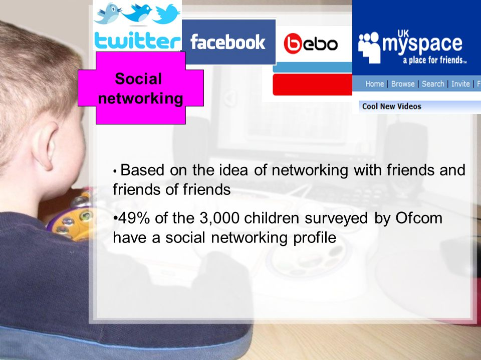 Social networking. Based on the idea of networking with friends and friends of friends.