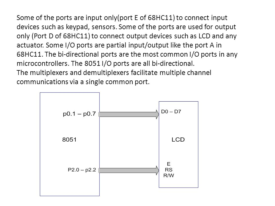 Some of the ports are input only(port E of 68HC11) to connect input devices such as keypad, sensors. Some of the ports are used for output only (Port D of 68HC11) to connect output devices such as LCD and any actuator. Some I/O ports are partial input/output like the port A in 68HC11. The bi-directional ports are the most common I/O ports in any microcontrollers. The 8051 I/O ports are all bi-directional.