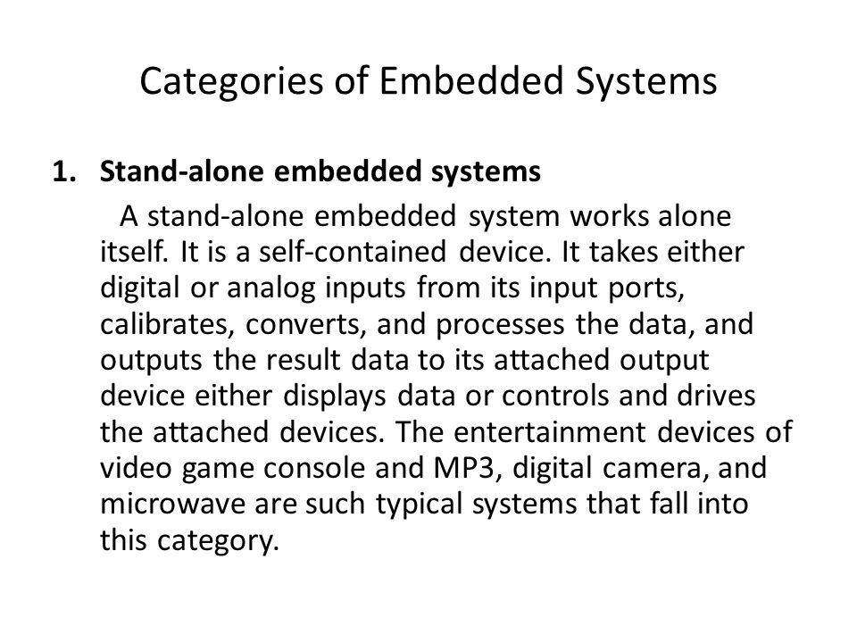 Categories of Embedded Systems
