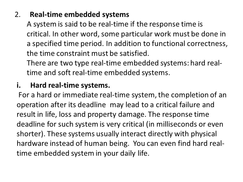 2. Real-time embedded systems