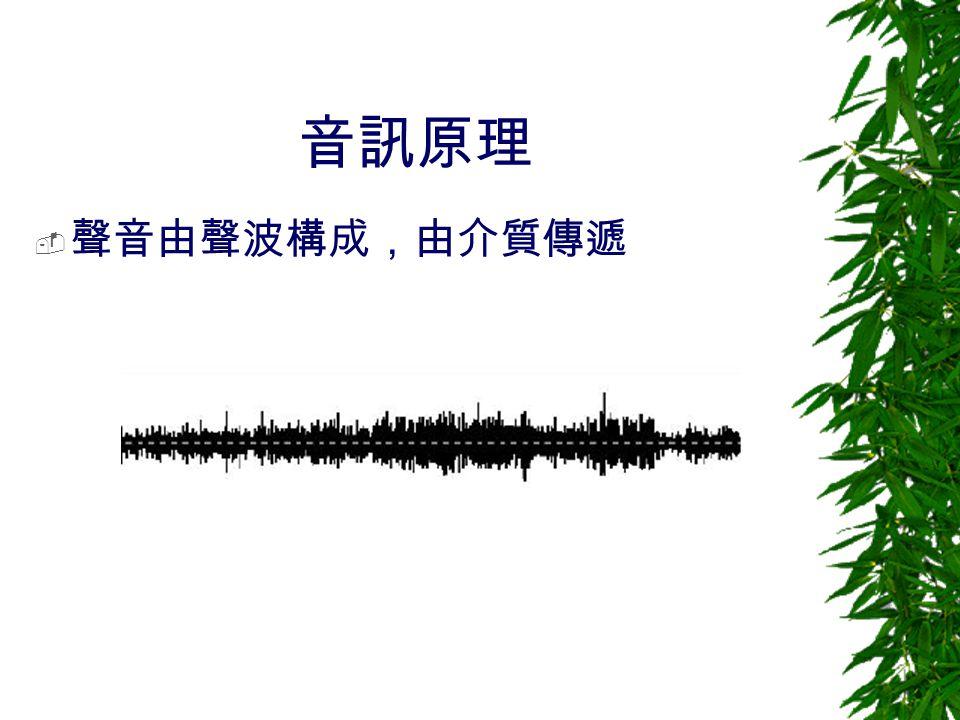 音訊原理 聲音由聲波構成,由介質傳遞