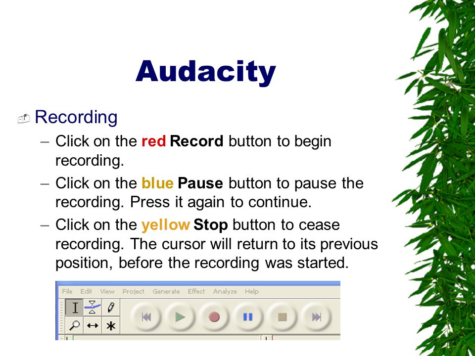 Audacity Recording Click on the red Record button to begin recording.