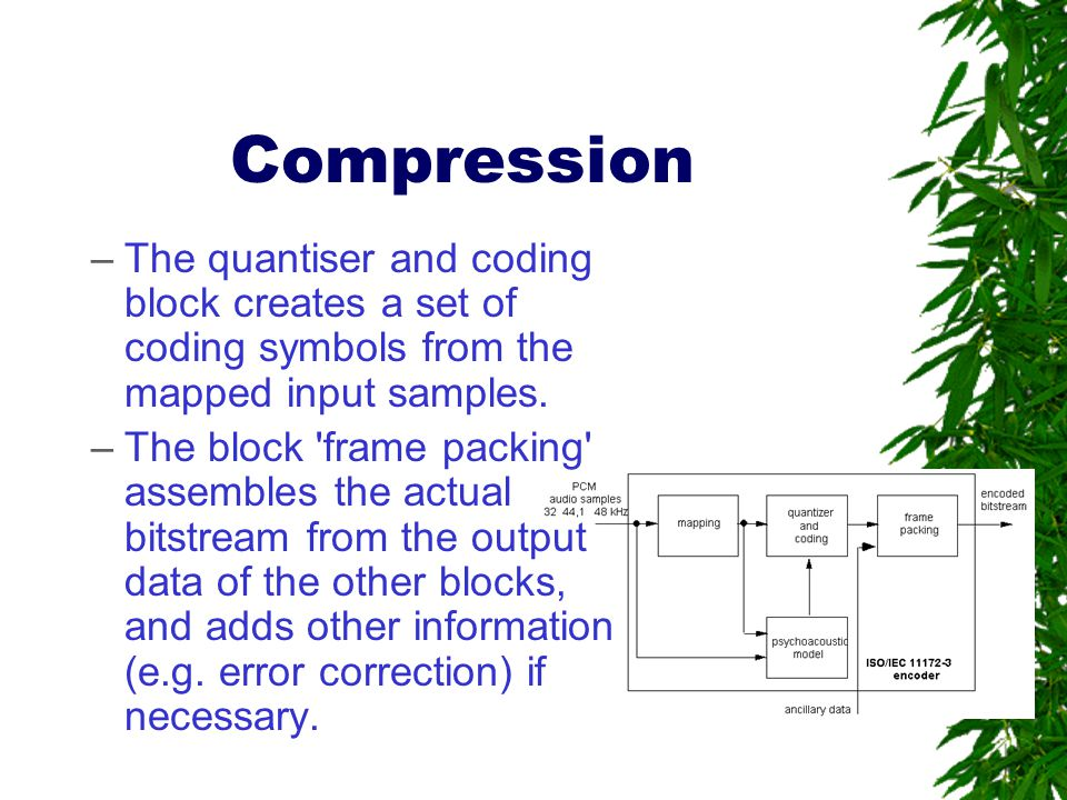 Compression The quantiser and coding block creates a set of coding symbols from the mapped input samples.
