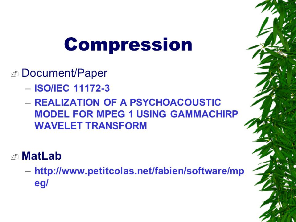 Compression Document/Paper MatLab ISO/IEC 11172-3