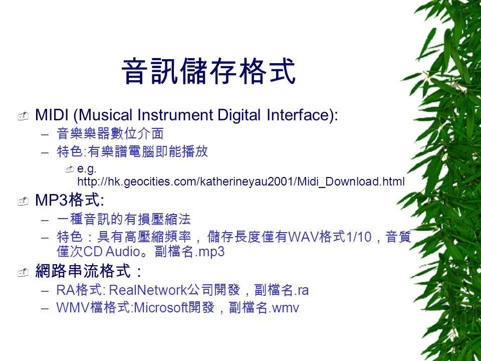 音訊儲存格式 MIDI (Musical Instrument Digital Interface): MP3格式: 網路串流格式:
