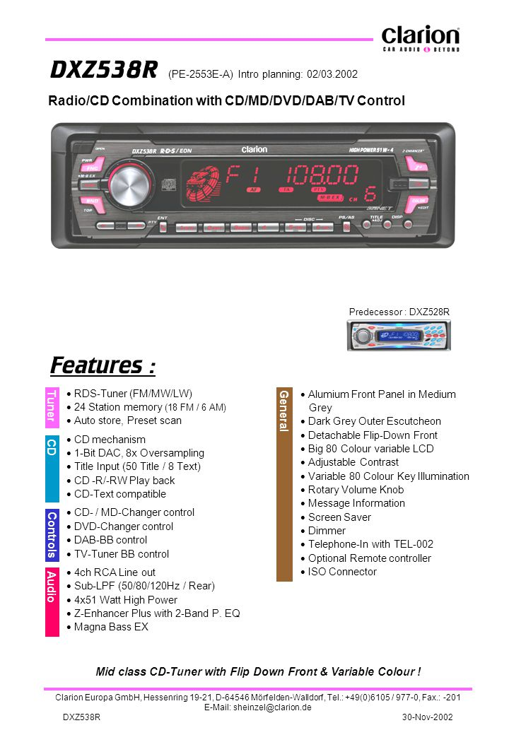 Mid class CD-Tuner with Flip Down Front & Variable Colour !