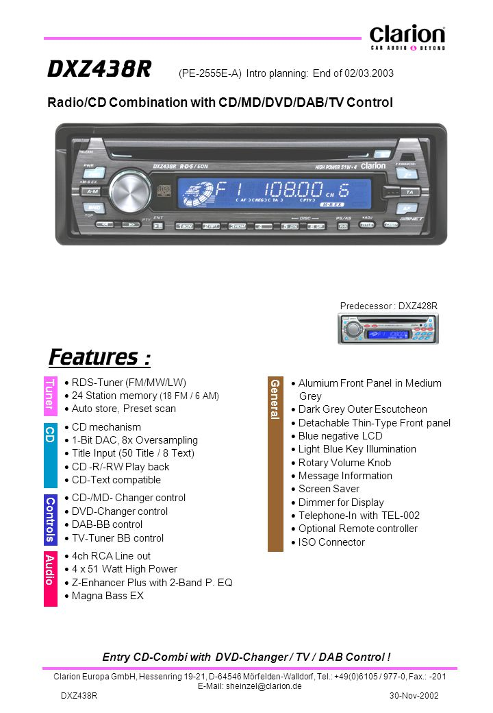 Entry CD-Combi with DVD-Changer / TV / DAB Control !