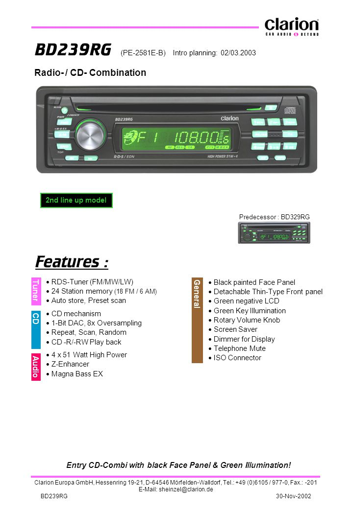 Entry CD-Combi with black Face Panel & Green Illumination!