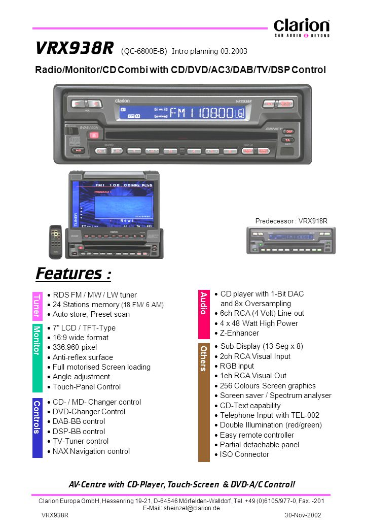 AV-Centre with CD-Player, Touch-Screen & DVD-A/C Control!