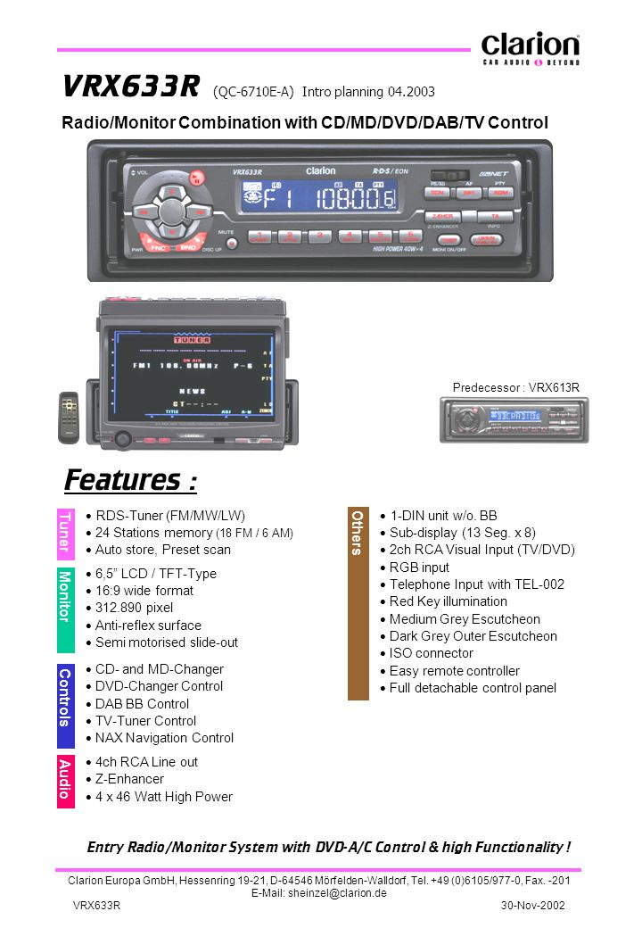 Entry Radio/Monitor System with DVD-A/C Control & high Functionality !