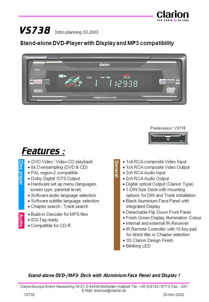 Stand-alone DVD-/MP3- Deck with Aluminium Face Panel and Display !