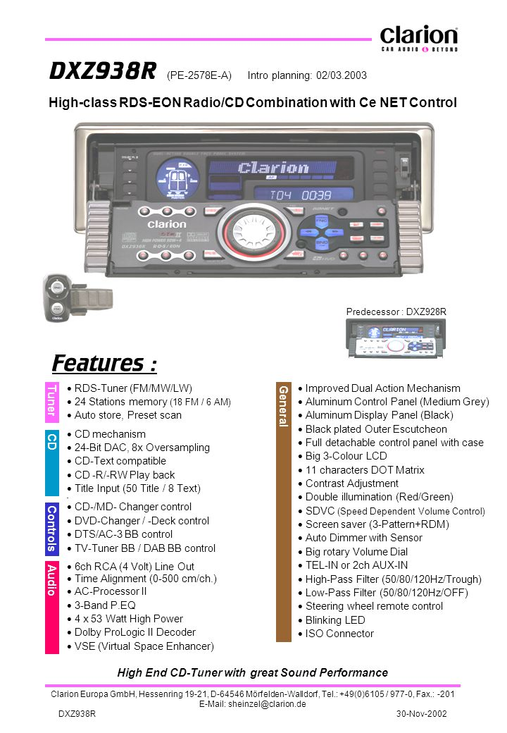 High End CD-Tuner with great Sound Performance