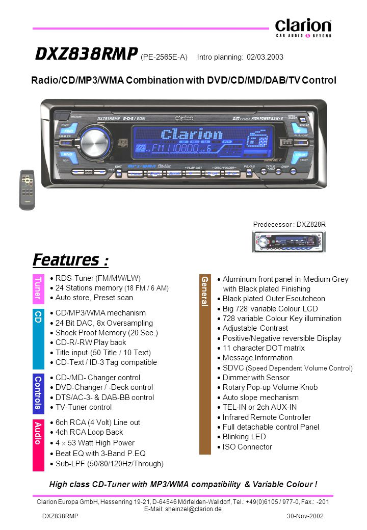 High class CD-Tuner with MP3/WMA compatibility & Variable Colour !