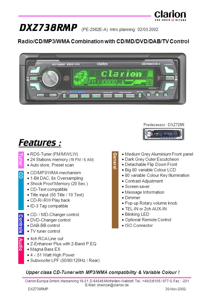 Upper class CD-Tuner with MP3/WMA compatibility & Variable Colour !