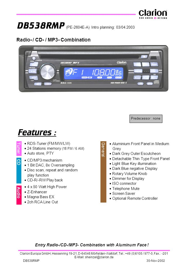 Entry Radio-/CD-/MP3- Combination with Aluminum Face !