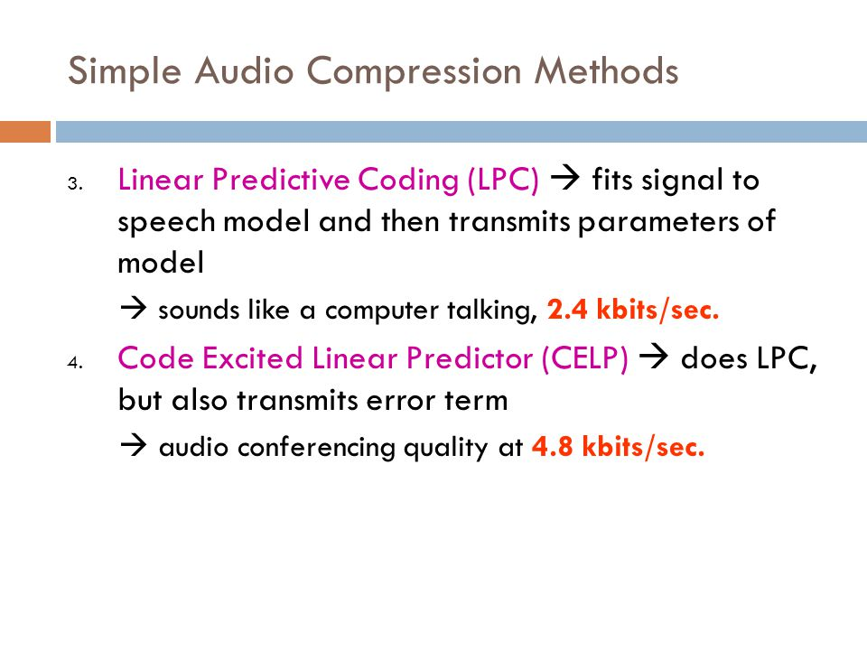 Simple Audio Compression Methods