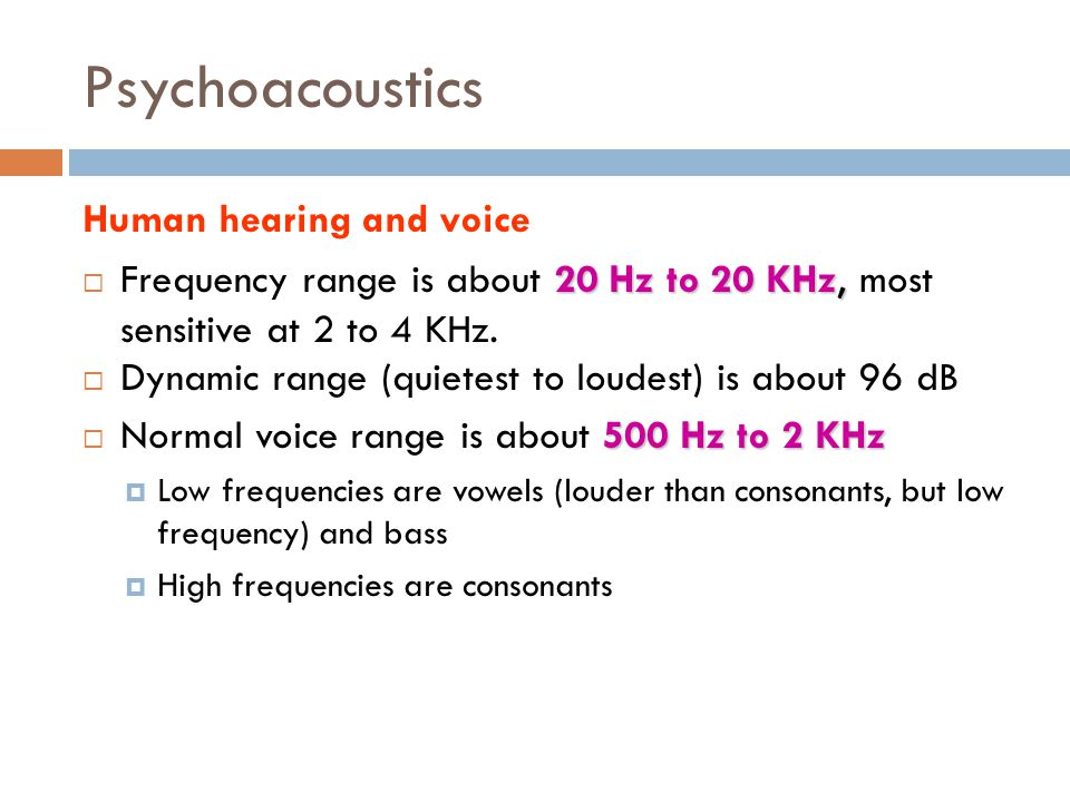 Psychoacoustics Human hearing and voice