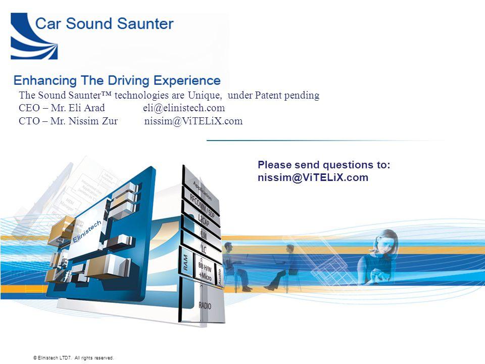 The Sound Saunter™ technologies are Unique, under Patent pending