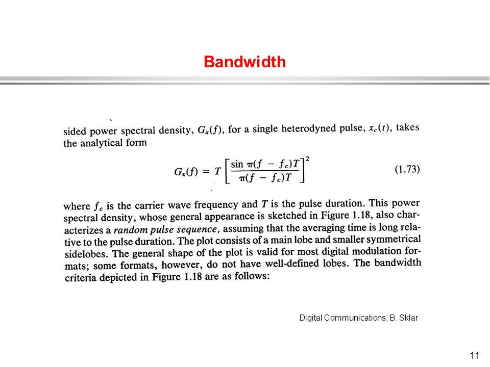 Bandwidth Digital Communications, B. Sklar