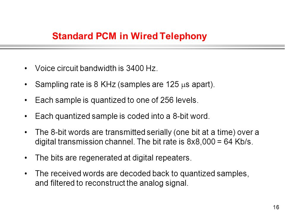 Standard PCM in Wired Telephony