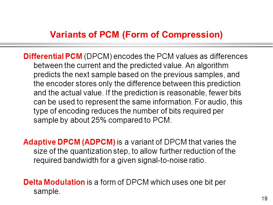 Variants of PCM (Form of Compression)