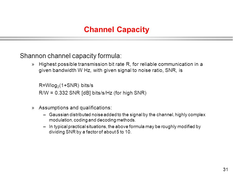 Channel Capacity Shannon channel capacity formula: