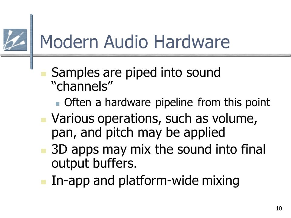Modern Audio Hardware Samples are piped into sound channels